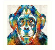 Colorful Chimp Art - Monkey Business - By Sharon Cummings Art Print