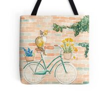 Calico Cat on a Turquoise Bicycle Tote Bag