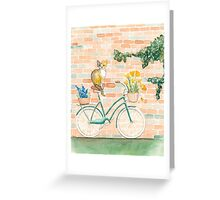 Calico Cat on a Turquoise Bicycle Greeting Card