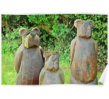 three bears in wood Poster