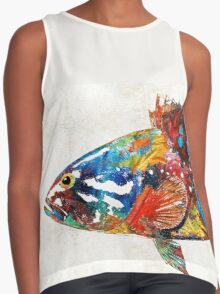 Colorful Grouper Art Fish by Sharon Cummings Contrast Tank