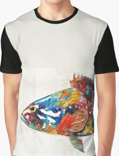Colorful Grouper Art Fish by Sharon Cummings Graphic T-Shirt