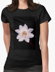 White Clematis Flower on Black Womens Fitted T-Shirt