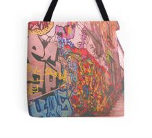 Walking by graffiti street Tote Bag