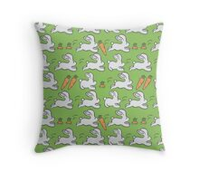 Rabbits and Carrot Throw Pillow