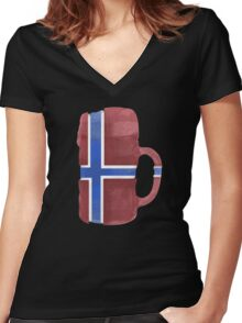 Norway Beer Flag Women's Fitted V-Neck T-Shirt
