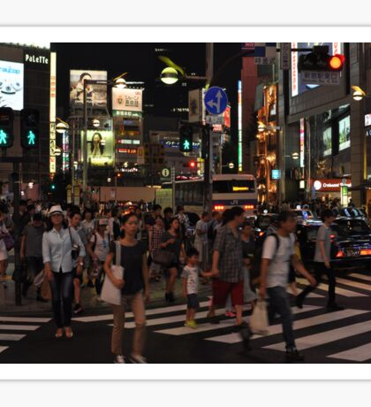 People Walking in a Busy Tokyo Intersection Sticker