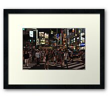 People Walking in a Busy Tokyo Intersection Framed Print