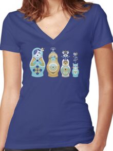 Russian Nesting Dolls – Navy Women's Fitted V-Neck T-Shirt