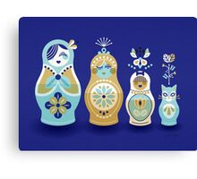 Russian Nesting Dolls – Navy Canvas Print