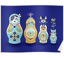 Russian Nesting Dolls – Navy Poster