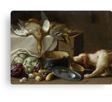 WEENIX, JAN (ATTRIBUTED) () A kitchen still life with a duck, vegetables, kitchen utensils and a dog Canvas Print