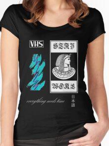 Vaporwave pharaoh aesthetics white Women's Fitted Scoop T-Shirt