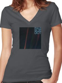 Pale Blue Dot  ( Earth from voyager ) Women's Fitted V-Neck T-Shirt