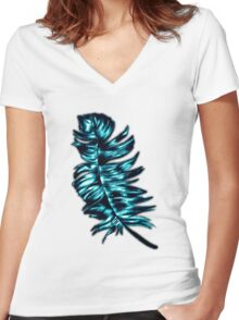 Blue Metallic Feather Women's Fitted V-Neck T-Shirt