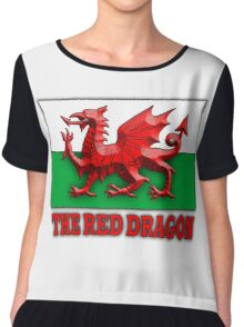 WELSH FLAG, WALES, WELSH, RED DRAGON OF WALES,  Chiffon Top