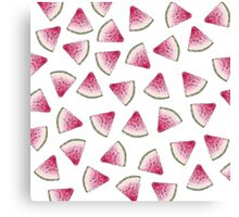 Summery Cute Watercolor Watermelon Slices Pattern Canvas Print