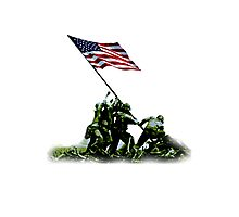 American War Flag, USA, Raising the Colours, Iwo Jima, America, Americana, WW2, WWII Photographic Print