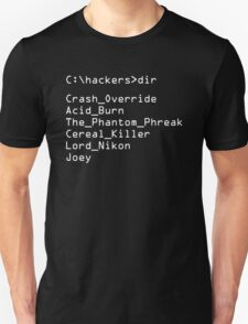 Hackers Movie - C: Cast of Characters Unisex T-Shirt