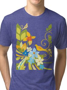 Green Floral Bird Tri-blend T-Shirt