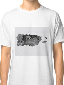 Black and White Art Puerto Rico Map Classic T-Shirt