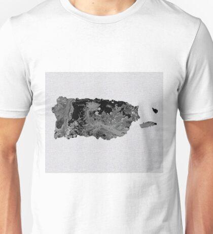 Black and White Art Puerto Rico Map Unisex T-Shirt
