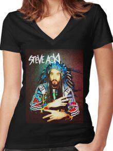 steve aoki Women's Fitted V-Neck T-Shirt