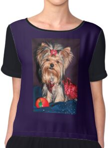 Cute Yorkie Puppy In Red Dress Chiffon Top