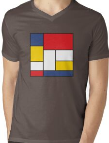 In the Style of Mondrian Mens V-Neck T-Shirt