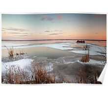 Lake Sunset in Winter Poster