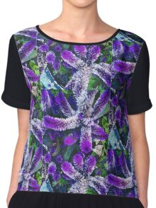 Peculiar Purple Plant Chiffon Top