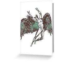 ICARUS THROWS THE HORNS - aqua grunge Greeting Card