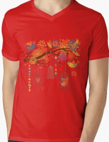 Cute Bird Floral Mens V-Neck T-Shirt