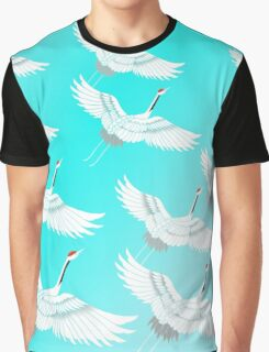 Flock of Cranes - Turquoise Graphic T-Shirt