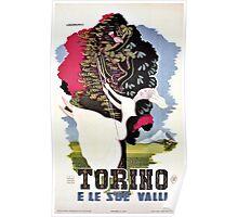 Vintage Italian travel Turin Italy, girl on a garden swing Poster