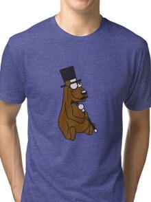 sir mr gentlemen claus cylinder monokel glasses mustache mustache sitting thick grizzly bear comic cartoon Tri-blend T-Shirt