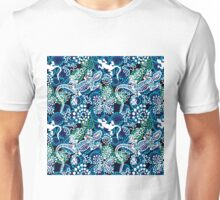 Boho style seamless pattern with Australian aboriginal arts motifs. Unisex T-Shirt