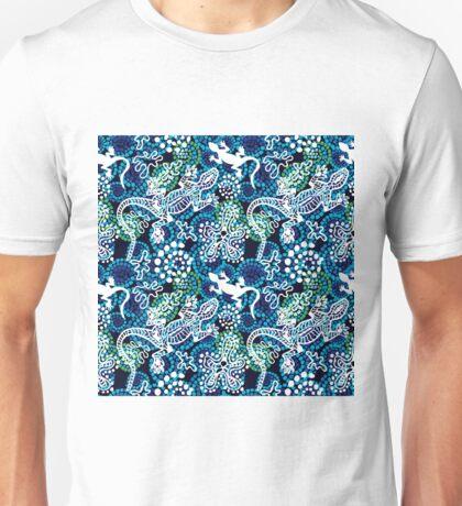 Boho style seamless pattern with Australian aboriginal arts motifs. Unisex T-Shirt