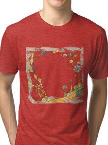 Artistic Floral Tri-blend T-Shirt