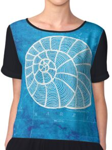 Conch, Illustration Over Nautical Map Chiffon Top