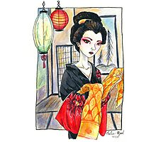 Oiran Geisha Watercolor Painting Photographic Print