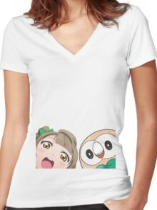 Kotori and Rowlet cornerface Women's Fitted V-Neck T-Shirt