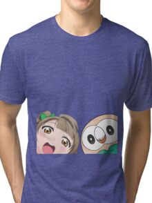 Kotori and Rowlet cornerface Tri-blend T-Shirt