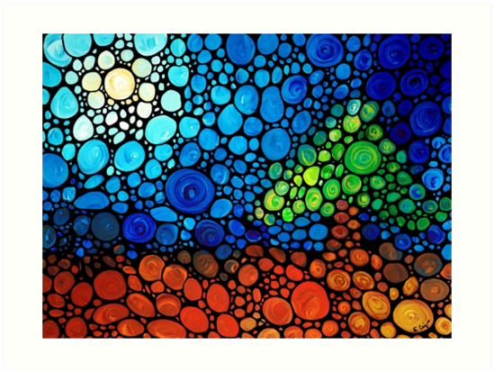 A Day To Remember - Landscape Print Abstract Colorful Mosaic Art by Sharon Cummings