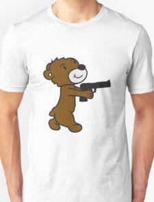 pistol shooting knarre shoot criminals war weapon evil teddy sweet cute Unisex T-Shirt