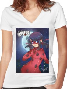 lady bug Women's Fitted V-Neck T-Shirt