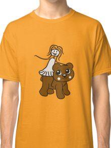 rider riding horse female girl woman walk sweet cute comic cartoon teddy bear Classic T-Shirt