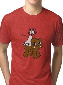rider riding horse female girl woman walk sweet cute comic cartoon teddy bear Tri-blend T-Shirt