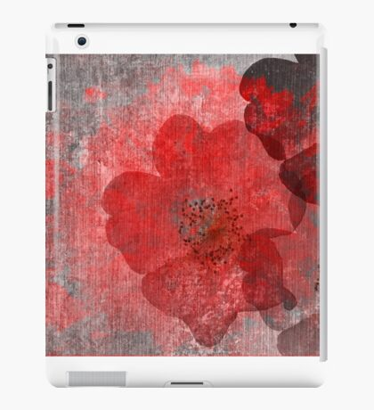 Cool, unique red grey asian style flower art iPad Case/Skin