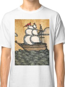 Ship on the Ocean, Antique Texture Classic T-Shirt